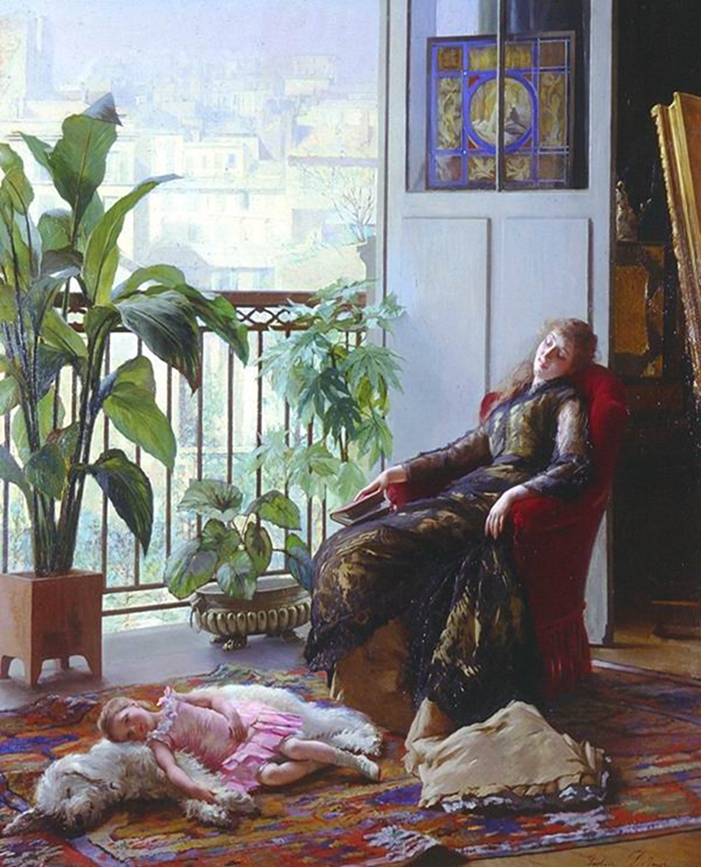 Afternoon repose | Gustave Leonard de Jonghe | oil painting