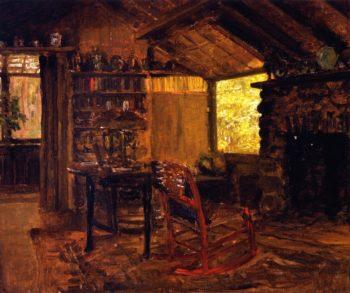 Interior of Camp at Cedar Swamp Pond Matunuck | Anna Mary Richards Brewster | oil painting