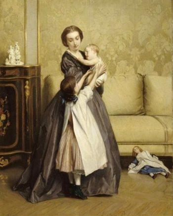 Jeune mere et ses enfants dans un salon | Gustave Leonard de Jonghe | oil painting