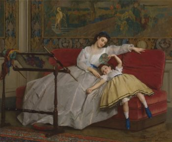 Mother With Her Young Daughter | Gustave Leonard de Jonghe | oil painting
