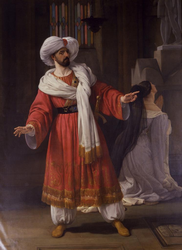 Giovanni David sulla scena de Gli arabi nelle Gallie   Francesco Paolo Hayez   oil painting