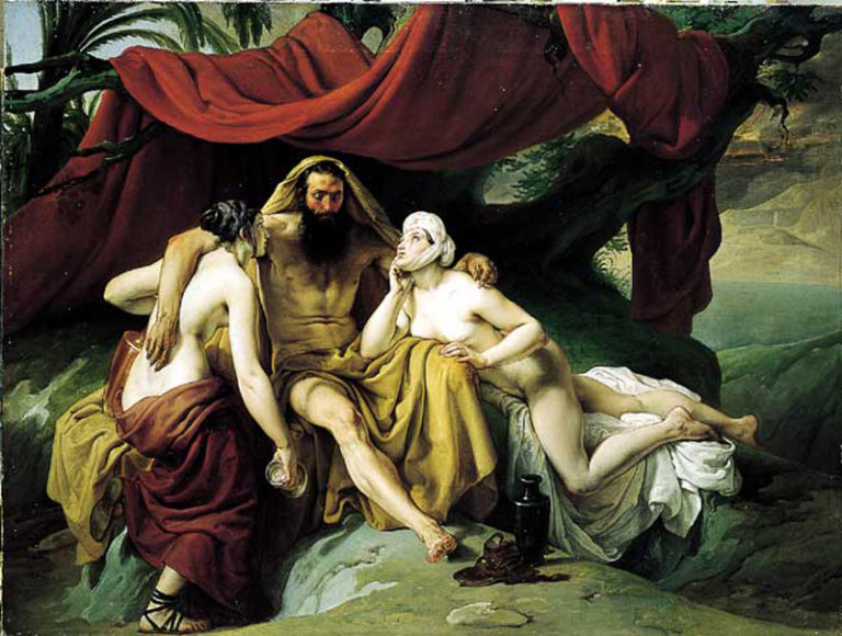 Lot and His Daughters | Francesco Paolo Hayez | oil painting