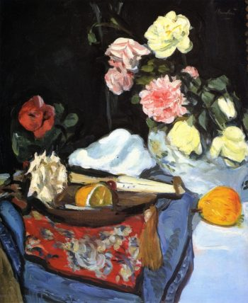 Fruit and Flowers on a Draped Table | George Leslie Hunter | oil painting
