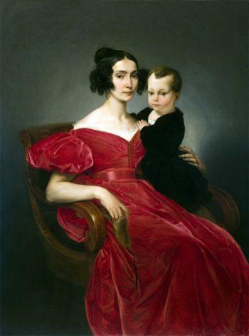 Ritratto della contessa Teresa Zumali Marsili con il figlio Giuseppe | Francesco Paolo Hayez | oil painting