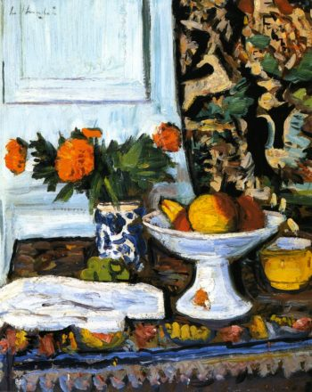 Still LIfe with Fruit and Marigolds in a Chinese Vase | George Leslie Hunter | oil painting