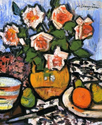 Still LIfe with Roses Fruit and Knife | George Leslie Hunter | oil painting