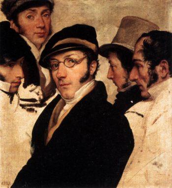 Self Portrait in a Group of Friends | Francesco Paolo Hayez | oil painting