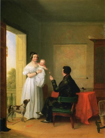 Offering Baby a Rose   James Goodwyn Clonney   oil painting