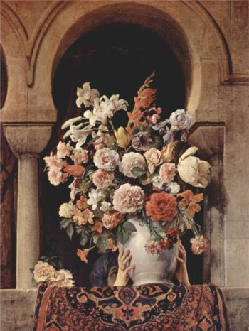 Vase of Flowers on the Window of a Harem | Francesco Paolo Hayez | oil painting