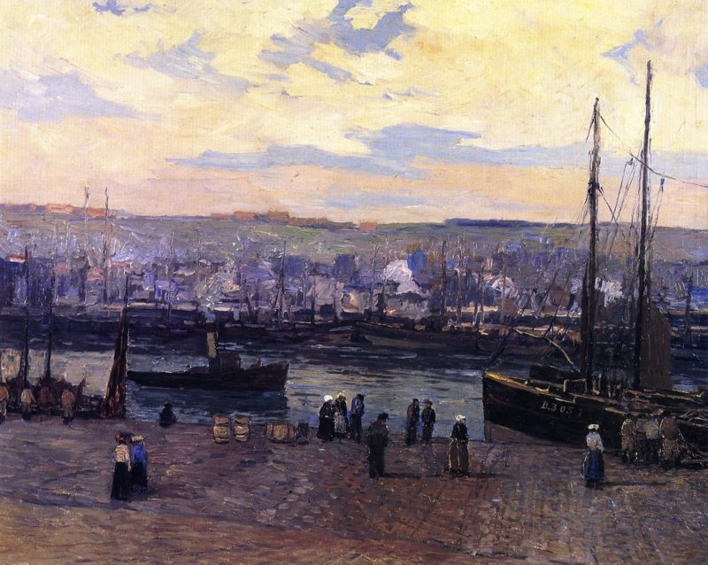 Boulogne Harbor   Edward Willis Redfield   oil painting