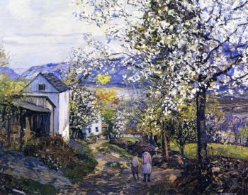 Cherry Blossoms | Edward Willis Redfield | oil painting