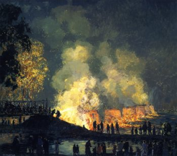 The Burning of Center Bridge | Edward Willis Redfield | oil painting