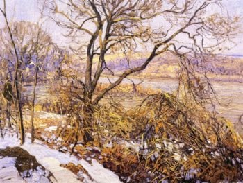 Woods and Stream in Winter Upper Delaware | Edward Willis Redfield | oil painting
