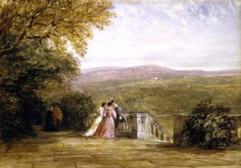 A Terrace with Figures Haddon Hall | David Cox | oil painting