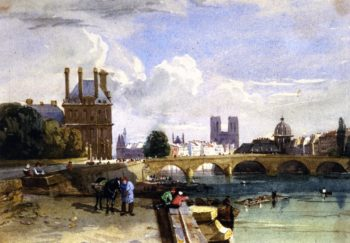 A View of the Pavillon de Flore and the Tuileries from the Seine Notre Dame Paris | David Cox | oil painting