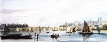A View of Westminster Bridge Looking West towards Lambeth Palace and Westminster Abbey   David Cox   oil painting