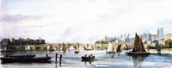 A View of Westminster Bridge Looking West towards Lambeth Palace and Westminster Abbey | David Cox | oil painting