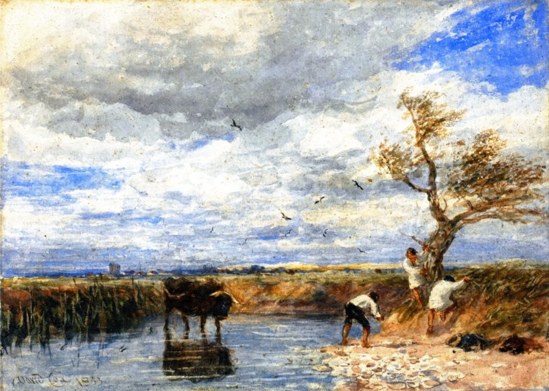 Bathers Disturbed by a Bull   David Cox   oil painting