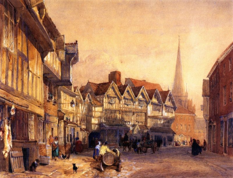 Butcher's Row Hereford | David Cox | oil painting