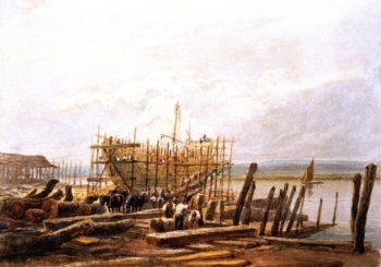 Dockyard Building a Sloop | David Cox | oil painting