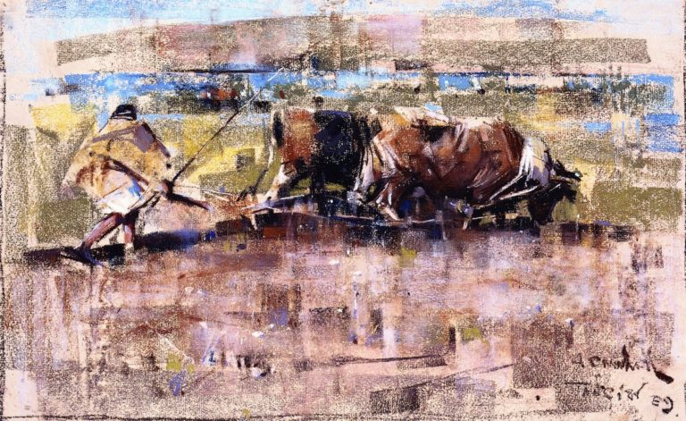 Oxen Ploughing Tangier | Joseph Crawhall | oil painting