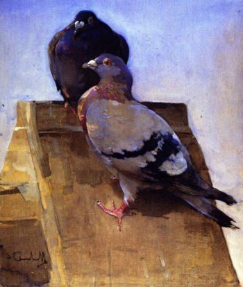 Pigeons on the Roof | Joseph Crawhall | oil painting
