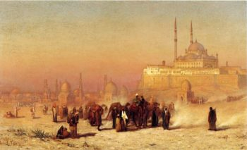 On the Way between Old and New Cairo Citadel Mosque of Mohammed Ali and Tombs of the Mamelukes | Louis Comfort Tiffany | oil painting