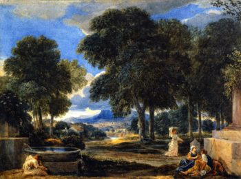 Landscape with a Man Washing His Feet at a Fountain after Poissin | David Cox | oil painting