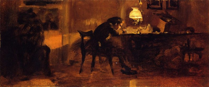 Young Boy Sitting at a Table | Adolph von Menzel | oil painting