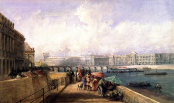 The Pont des Arts with the Louvre and Tuileries from the Quai Conti | David Cox | oil painting