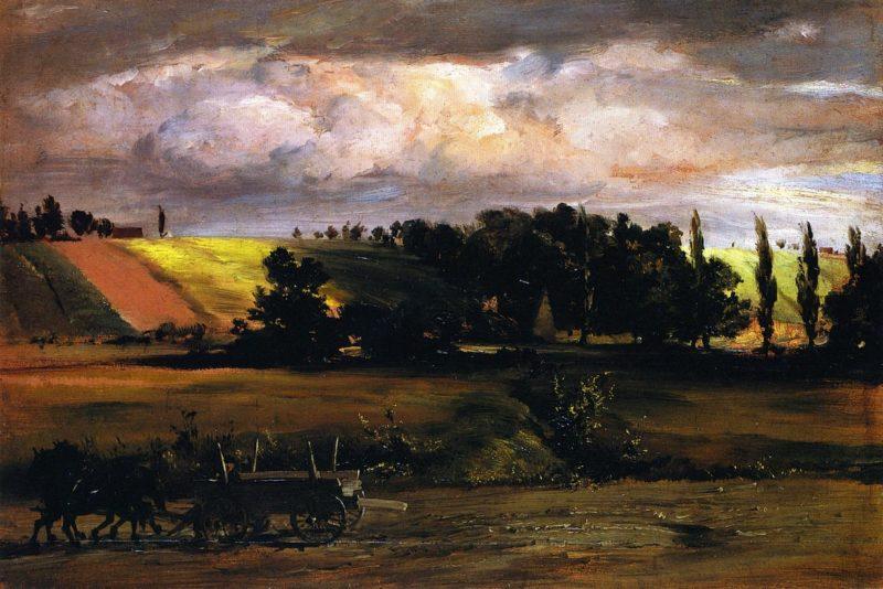 Stoem over Tempelhofer Berg   Adolph von Menzel   oil painting