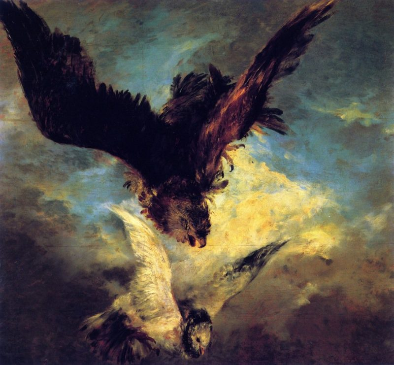 Falcon Swooping on a Dove | Adolph von Menzel | oil painting