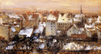 Back Yards in the Snow Berlin | Adolph von Menzel | oil painting