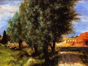Building Site with Willows | Adolph von Menzel | oil painting