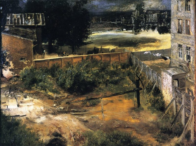 Rear Courtyard and House   Adolph von Menzel   oil painting