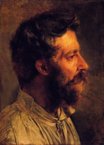 Head of a Bearded Workman in Profile | Adolph von Menzel | oil painting