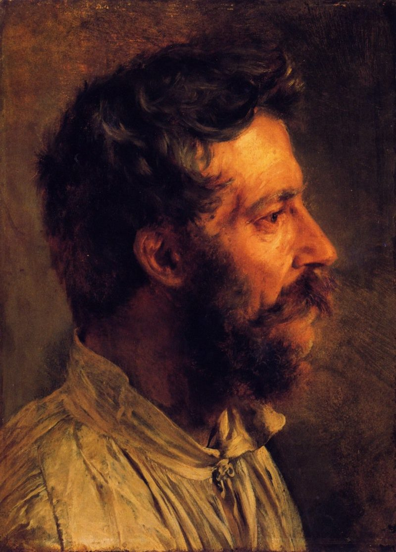 Head of a Bearded Workman in Profile   Adolph von Menzel   oil painting
