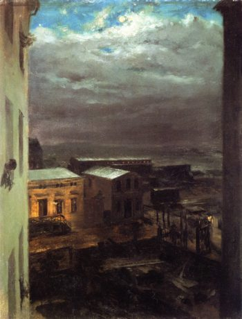 View over Anhalt Station by Moonlight | Adolph von Menzel | oil painting
