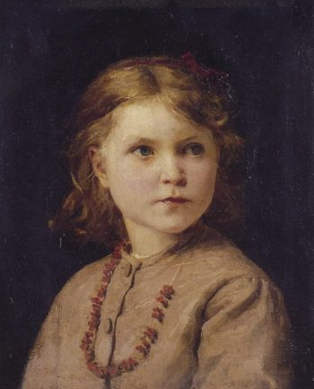 Portrait of a girl with red necklace | Albert Anker | oil painting