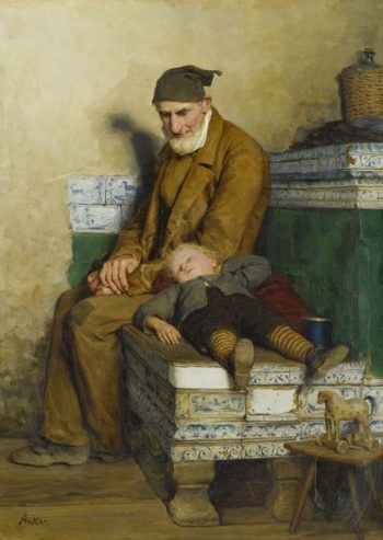 Der alte Feissli mit Kind auf Ofenbank | Albert Anker | oil painting