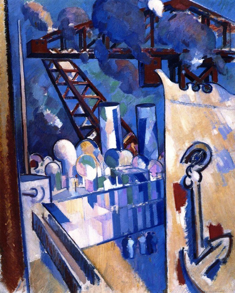 Portsmouth Docks   John Duncan Fergusson   oil painting