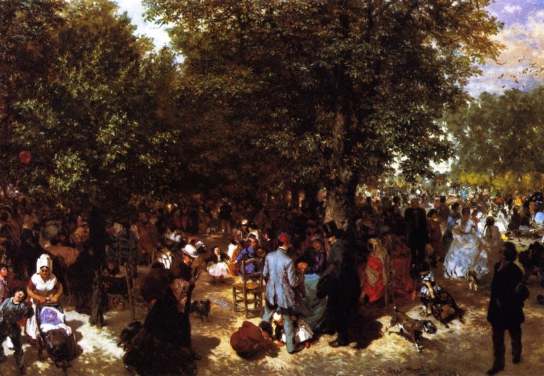 Afternoon in the Tuileries Gardens | Adolph von Menzel | oil painting