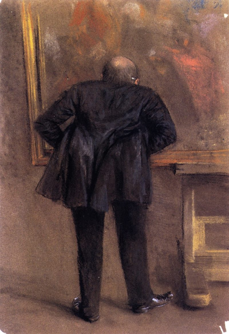 Art Lover in front of The Flute Concert by Manzel | Adolph von Menzel | oil painting