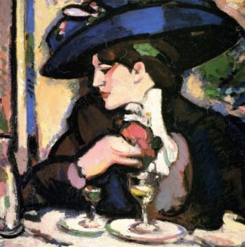 The Blue Hat Closerie des Lilas | John Duncan Fergusson | oil painting