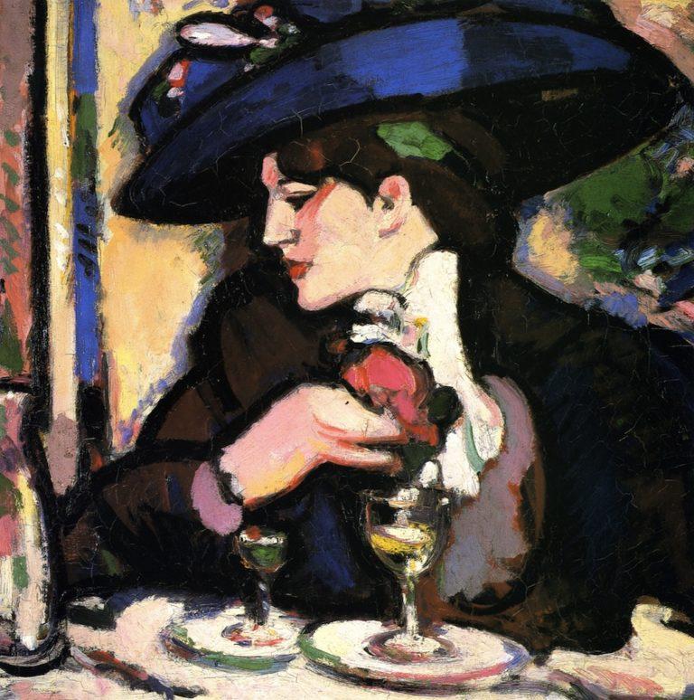 The Blue Hat Closerie des Lilas | John Duncan Fergusson | oil painting