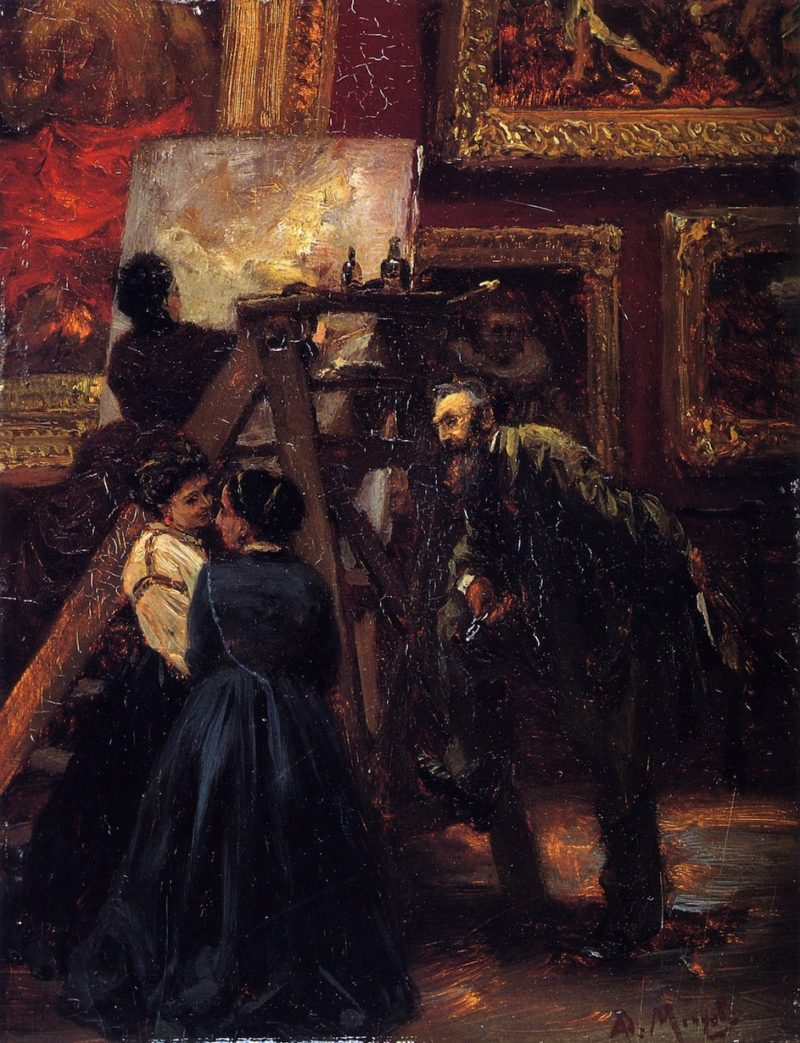 At the Louvre   Adolph von Menzel   oil painting