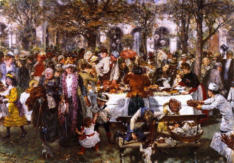 Breakfast Buffet given by a High Class Bakery in Kissingen | Adolph von Menzel | oil painting