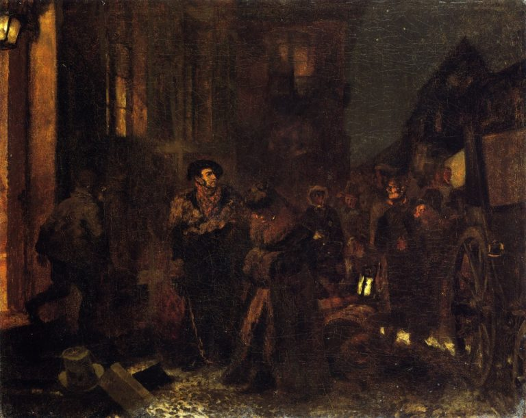 Breaking the Journey at an Inn | Adolph von Menzel | oil painting