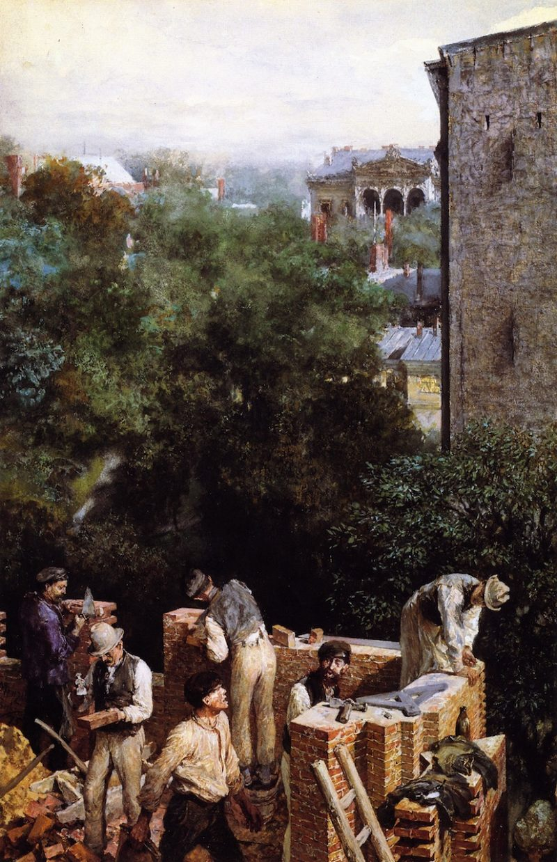 Bricklayers on a Building Site   Adolph von Menzel   oil painting