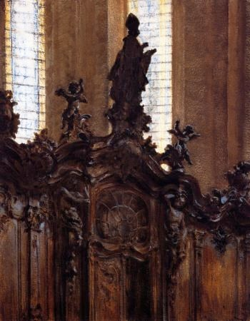 Choirstalls in Mainz Cathedral | Adolph von Menzel | oil painting